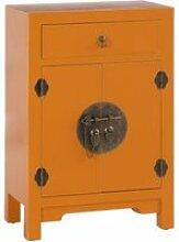 Confiturier 2 portes, 1 tiroir orange meuble