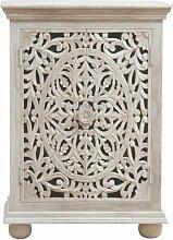 Confiturier 2 portes sculpté blanchi - Manguier