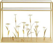 Console en verre et acier doré fleurs en relief