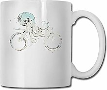Cool Octopus Bike Unique en céramique blanc tasse