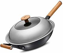 Coolhopy Wok, Fer Pan, Fine Iron Wok, Wok 32cm