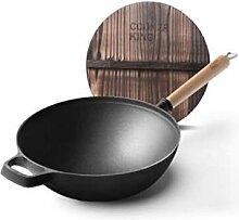 Coolhopy Wok, Frying Pan, 30cm épais en fonte