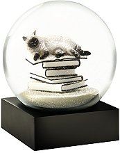 CoolSnowGlobes Boule à Neige Chat sur Livres Blanc