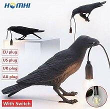 Corbeau Oiseau Mur Lampe LED Moderne de Table