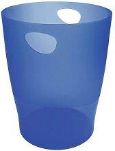 corbeille à papier 15 litres ecobin bleu océan