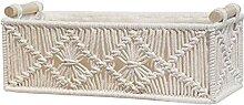 Corde de coton tissé panier Rectangle macramé