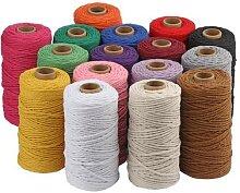 Corde torsadée colorée 100% coton, 3mm, 100