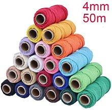 Corde torsadée colorée 100% coton Beige, 4mm x