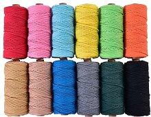 Cordon 100% coton coloré Beige torsadé