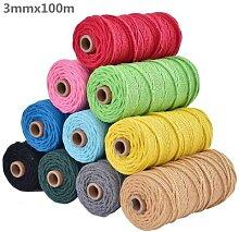 Cordon torsadé coloré Beige 100% coton, 3mm,