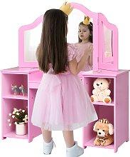 Costway 2 en 1 Coiffeuse pour Enfants avec Miroir