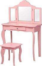 COSTWAY Coiffeuse Enfant Rose avec Tabouret, Table