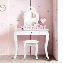 COSTWAY Coiffeuse pour Enfant avec Miroir, Inclus