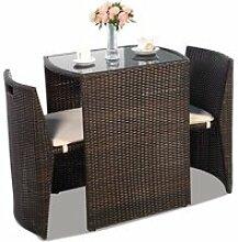 Costway ensemble table et chaise de jardin en