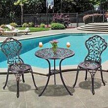 COSTWAY Ensemble Table pour Jardin et 2 Chaises en