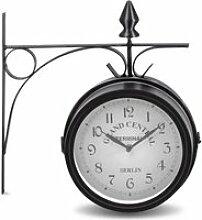 COSTWAY Horloge de Gare avec Double Cadran en