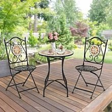 COSTWAY Table de Jardin et 2 Chaises Ensemble