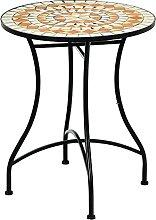 COSTWAY Table de Jardin Ronde Style Mosaïque,