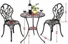 Costway - Table et 2 chaises de jardin salon de