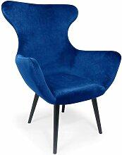 Cotecosy - Fauteuil Geo Velours Bleu - Bleu