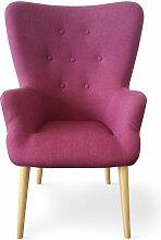 Cotecosy - Fauteuil Haut dossier tissu violet