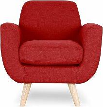 Cotecosy - Fauteuil scandinave tissu rouge Annis