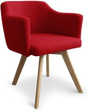 Cotecosy - Fauteuil Scandinave tissu rouge Kanty