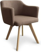 Cotecosy - Fauteuil Scandinave tissu taupe Kanty
