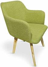 Cotecosy - Fauteuil scandinave tissu vert pistache