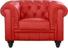 Cotecosy - Grand fauteuil Chesterfield Rouge -