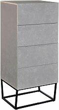 Cotecosy - Semainier Logam 4 tiroirs Marbre - Blanc