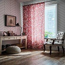 Coton Et Lin Impression Rouge Style Baroque