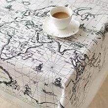 Coton Lin Nappe Table Carte du Monde Rectangle