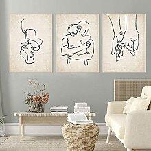 Couple dessin affiche tenant les mains ligne Art