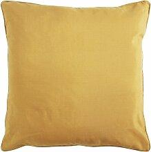 Coussin de sol en polycoton jaune 70x70