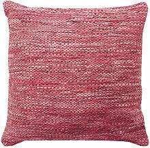 Coussin en cuir tressé burgundy 70x70
