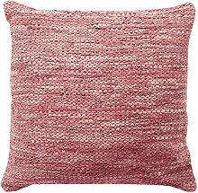 Coussin en cuir tressé rose poudré 70x70