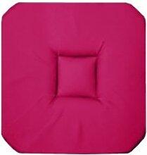 Coussin galette de chaise 4 rabats 36 x 36 cm rose