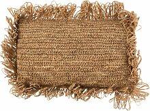 Coussin rectangulaire raphia naturel 47x33cm