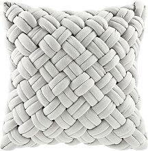 Coussin tressé gris 45x45