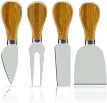 Couteau coupe-fromage à manche en bois 4 pièces,