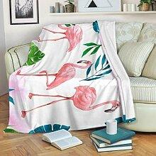Couverture en flanelle rose flamant rose, douce et