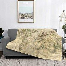 Couverture Vintage carte du monde, couvre-lit en
