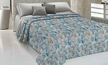 Couvre-lit 100% coton : 170 x 270 cm / Bleu