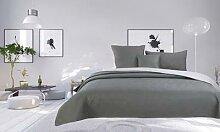 Couvre lit Boutis de 4 pièces bicolore: Prune /