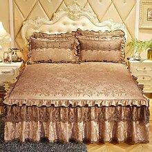 Couvre-lit de luxe européen, 3 pièces, jupe