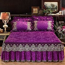 Couvre-lit de princesse en velours violet, jupe de