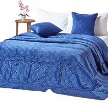 Couvre-lit en velours matelassé bleu marine à