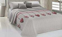 Couvre-lits 100 % coton à motif cœur : 170 x 270