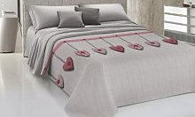 Couvre-lits 100 % coton à motif cœur : 260 x 270